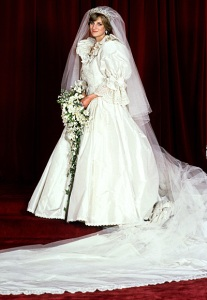 Diana in her wedding dress